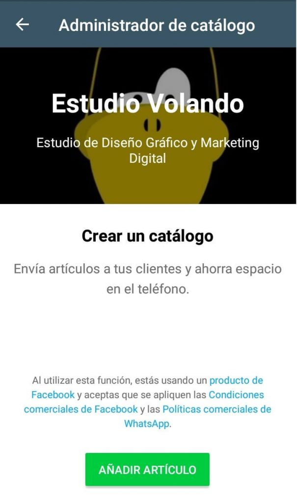 Captura de pantalla de WhatsApp business con catálogo