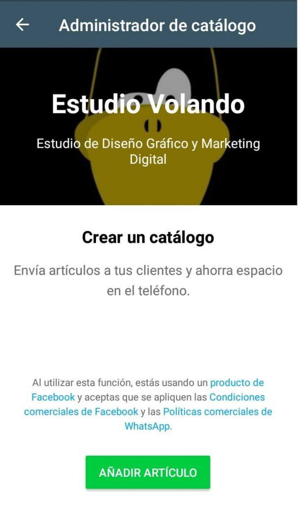 Captura de pantalla de WhatsApp business con catálogo