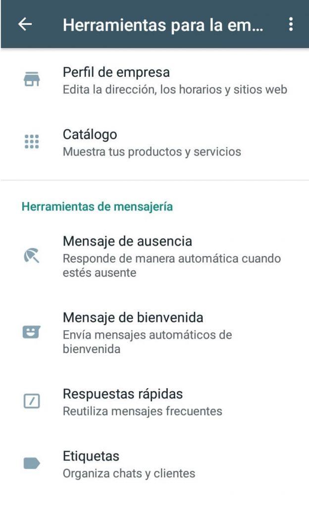 Captura de pantalla de WhatsApp Business con herramientas para la empresa