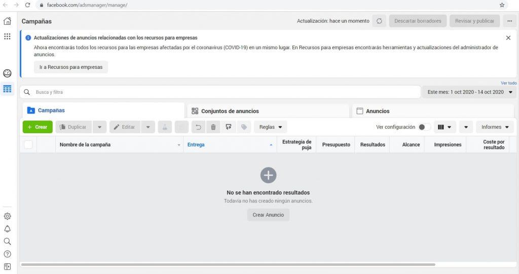 Captura de pantalla de Administrador Comercial para crear anuncios