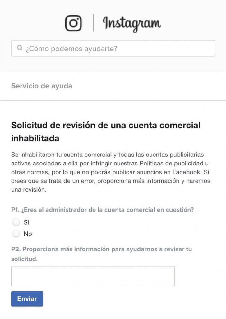 Captura de pantalla con pasos para recuperar la cuenta bloqueada desde Instagram